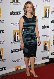 Jodie looked stunning at the Hollywood Awards Gala in this green satin cocktail dress by Dolce and Gabbana.
