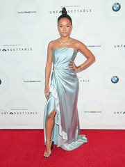 Karrueche Tran looked glam in a strapless ice-blue gown by Marchesa at the Unforgettable Gala.