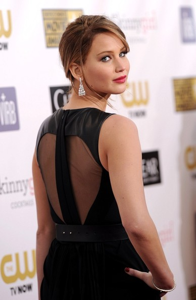 More Pics of Jennifer Lawrence Loose Bun (1 of 24) - Loose Bun Lookbook - StyleBistro