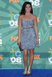 Danica Patrick wore a stylish strapless dress with a studded belt to the Teen Choice Awards.
