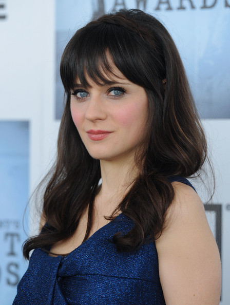 More Pics of Zooey Deschanel Medium Curls with Bangs (1 of 6) - Zooey Deschanel Lookbook - StyleBistro