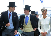Prince Harry and Prince William wore classic top hats with their three-piece suits at the Epsom Derby.