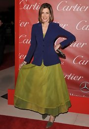 Wendie wore a navy blazer over a lime green evening dress. Fascinating!