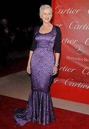 Helen wore the perfect dress for her style in this floor sweeping purple number.