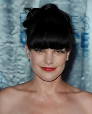 Pauley looked completely elegant with a messy updo complete with blunt cut bangs.