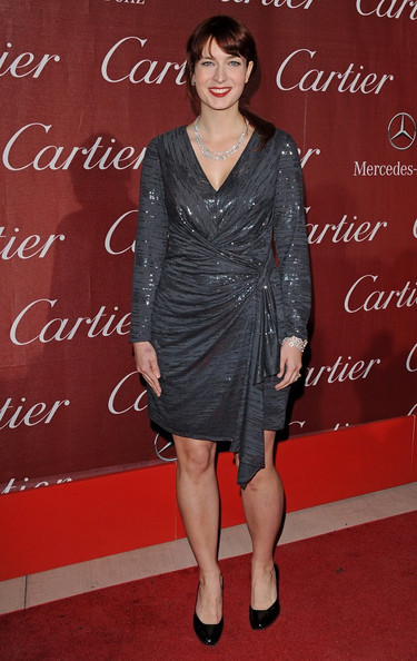 Diablo Cody glittered in a charcoal faux-wrap gown at the Palm Springs International Film Awards.
