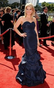 Candace Cameron pulled a Lea Michele in this blue taffeta gown at the Creative Arts Emmy Awards.
