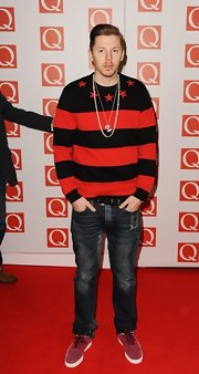 Professor Green added a bit of edginess to his Q Awards ensemble with a pair of washed-out jeans.