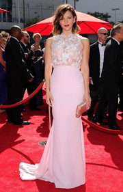 Katharine McPhee looked sweet and sophisticated on the Emmy Awards red carpet in a pale pink evening dress with an embellished see-through bodice.