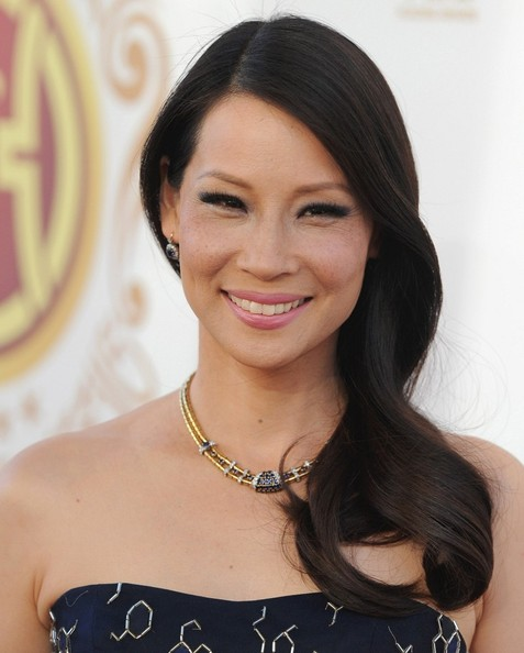 Lucy Liu's Elegant Side Sweep
