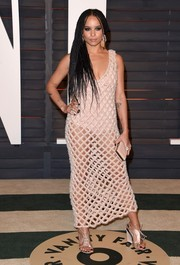 Zoe Kravitz completed her sultry outfit with nude satin lace-up wedges, also by Balenciaga.