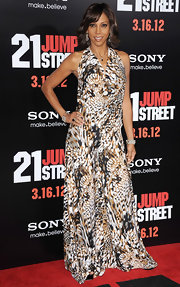 Holly Robinson Peete wore this patterned maxi-dress to the '21 Jump Street' premiere.
