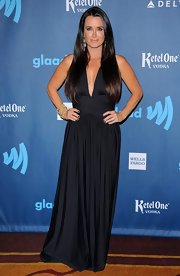 Kyle Richards took a bit of a plunge with this flowing evening gown, which featured a deep V-neck.