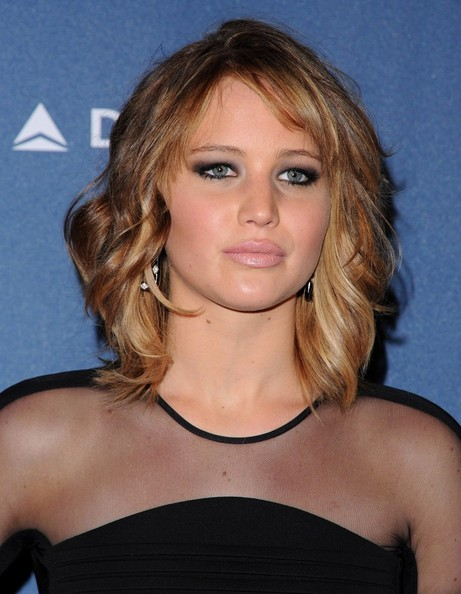 More Pics of Jennifer Lawrence Medium Wavy Cut with Bangs (5 of 18) - Jennifer Lawrence Lookbook - StyleBistro