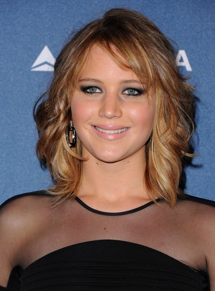 More Pics of Jennifer Lawrence Medium Wavy Cut with Bangs (1 of 18) - Jennifer Lawrence Lookbook - StyleBistro