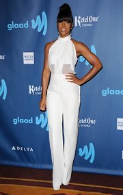 Kelly Rowland looked long and lean in this white halter jumpsuit that featured sheer paneling at the waist.