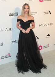 Jasmine Sanders was a goth princess in a black off-the-shoulder ball gown by Iris Serban at the Elton John AIDS Foundation Oscar-viewing party.