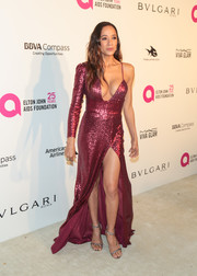 Dania Ramirez added extra shimmer with a pair of silver braid-strap sandals.