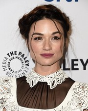 Crystal Reed styled her hair into a messy-glam crown braid for the 'Teen Wolf' panel at PaleyFest.