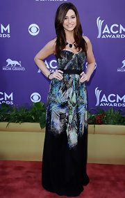 Rachel Reinert looked artistic in this strapless dress at the Academy of Country Music Awards.