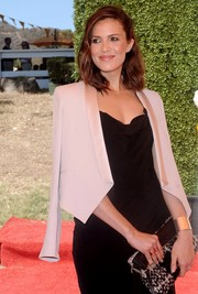 Mandy Moore layered a mauve satin-lapel cropped jacket over her black dress for a chicer finish during the Veuve Clicquot Polo Classic.