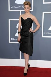 Dianne Agron stepped out at the Grammy Awards in black satin double platform pumps.