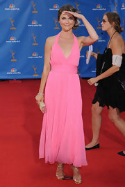 Keri Russell wore gold strappy sandals with her pink halter dress for a sweet-sexy finish at the Emmys.