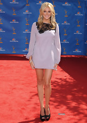 Stephanie showed off her long legs and blond hair for the Emmy Awards in a long-sleeved mini dress.