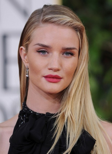 More Pics of Rosie Huntington-Whiteley Long Side Part (7 of 16) - Long Hairstyles Lookbook - StyleBistro