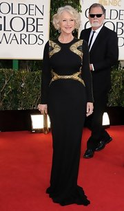 Helen Mirren looked like a high-fashion queen in this black gown with gold accents at the Golden Globe Awards.