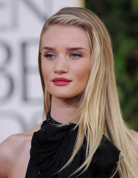 More Pics of Rosie Huntington-Whiteley Long Side Part (9 of 16) - Long Hairstyles Lookbook - StyleBistro