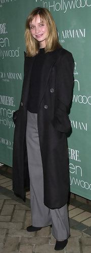 Calista Flockhart looked casual but sophisticated in a long wool coat, which she sported to the Premiere Women in Hollywood Luncheon.
