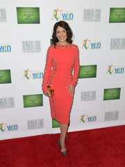 Lisa Edelstein brought a bright pop to the Women's Image Awards with this zigzag-beaded sheath dress.