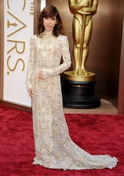Sally Hawkins covered up in elegant style in a fully embroidered Valentino gown during the Academy Awards.