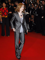 At the premiere of 'Precious,' Isabelle Huppert proved that a shimmery gray pantsuit could be just as stunning as any evening dress.