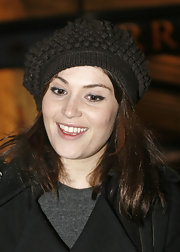 Gemma Arterton stayed warm in this black crocheted beret while at the Garrick Theatre.