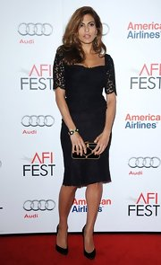 Eva brought the va-va-voom to the 'Holy Motors' premiere in this black square-neck lace dress.