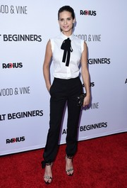 For her shoes, Lyndsy Fonseca chose embellished silver and gold ankle-strap sandals.