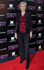 Jane stuck to a classic black blazer with leather panels for her look at the 'Afternoon Delight' premiere.