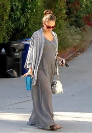 "Jessica was out and about wearing a ""Zannie Wrap"" over her maxi dress. Her casual ensemble exuded comfort which is important when pregnant."