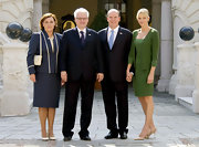 Princess Charlene of Monaco wore a saturated green day dress with matching cardigan while hosting the Croatian president and his wife.