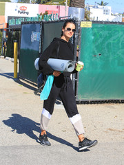 Alessandra Ambrosio teamed her top with a pair of tricolor sweatpants.