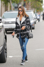 Alessandra Ambrosio enjoyed a relaxing day out wearing a gray and black striped pea coat.