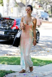 Alessandra Ambrosio was spotted out in Brentwood looking hippie-sexy in a plunging tie-dye maxi dress by Gypsy 05.