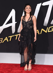 Rosa Salazar teamed her dress with barely-there sandals.
