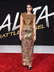 Dua Lipa brought major sparkle to the 'Alita: Battle Angel' premiere with this sequined and beaded column dress by Prada.