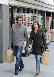 Alyson Hannigan shopped in style in this gray wool coat.