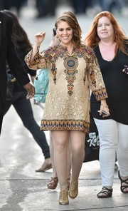 Alyssa Milano stopped by 'Jimmy Kimmel Live!' looking exotic-chic in an intricately embroidered maternity dress by Valentino.