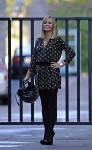 Amanda Holden looked casually stylish in a belted black print minidress outside London Studios.
