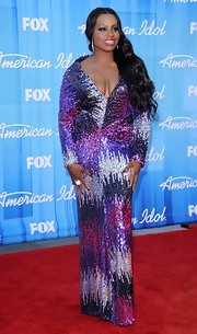 Fantasia Barrino donned a colorful sequin dress at the Season Finale of 'American Idol 2012.'
